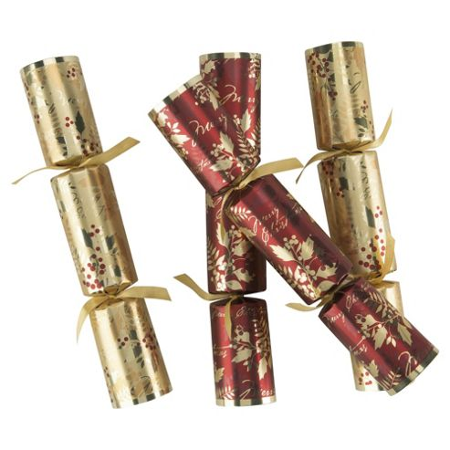 Tesco Red & Gold Berry Christmas Crackers With Name Card, 6 Pack