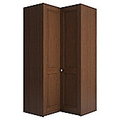 Modular Walnut Corner Wardrobe with Walnut Shaker Doors