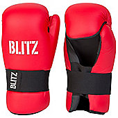 Blitz - PU Semi Contact Open Palm Gloves - Red