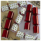 Holly Red Emboss Luxury Christmas Crackers, 8 pack