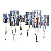Large Nautical Themed Rope Coat Hook in a Rustic Blue & White Finish