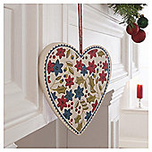Gisela Graham Vintage Wood Floral Heart Decoration