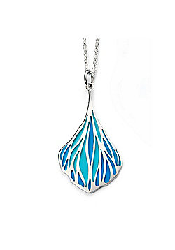 Sterling Silver Turquoise Blue Enamel Teardrop Necklace