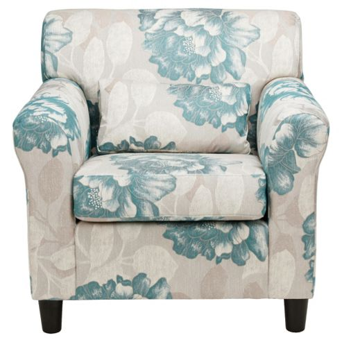 Lily Floral Fabric Accent Chair Blue