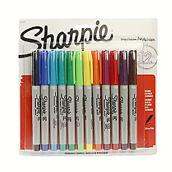 Sharpie Ultra Fine Point 12 Coloured Permanent Markers