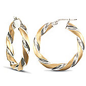 Jewelco London 9ct White Gold & satin-finished Yellow Gold Twisted hoop Earrings