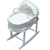 Broderie Anglaise Moses Basket With White Rocking Stand White