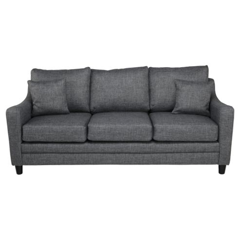 Buckingham Fabric Large 3 Seater Sofa In Charcoal