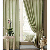 Catherine Lansfield Home Plain Faux Silk Curtains 66x90 (168x229cm) - Green - Tie backs included