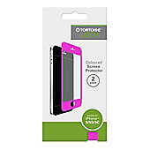 Tortoise™ Look Coloured Screen Protector, 2 Pack, iPhone 5/5S/5C. Clear with Pink Border.