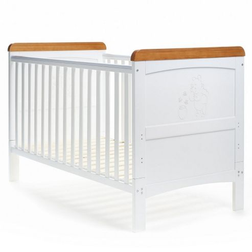 Disney Winnie the Pooh Cot Bed - White with Pine Trim