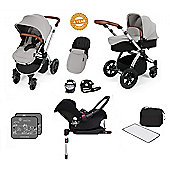 Ickle Bubba Stomp V3 AIO Travel System/Isofix Base/Buggy Lights Silver (Silver Chassis)