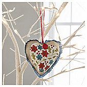 Gisela Graham Fabric Heart Floral Design Hanging Decoration