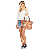 F&F Paisley Print Straw Tote Bag One Size Orange