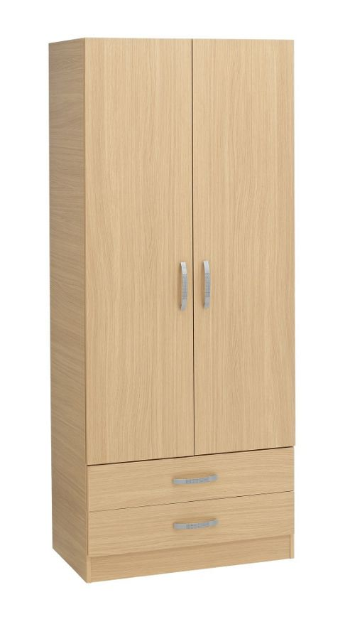Ideal Furniture Budapest 2 Drawer Wardrobe - Oak