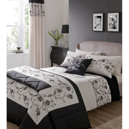 Catherine Lansfield Home Fine Luxury Collection Textured Border Single Bed Duvet Cover Set Black