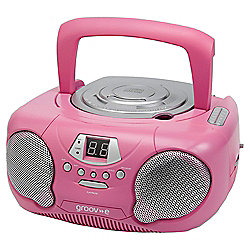Groov-E Boombox Portable CD Player with AM/FM Radio Pink