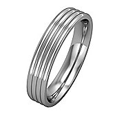 Jewelco London 18ct White Gold - 4mm Essential Flat-Court Ribbed Band Commitment / Wedding Ring -