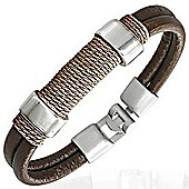 Urban Male Brown Leather Modern Surf Bracelet For Men