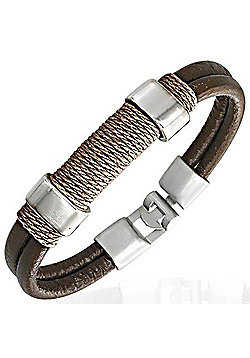 Men's Brown Leather, Metal & Cord Surf Bracelet by Urban Male