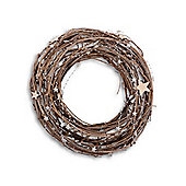 Natural Twig Handmade Christmas Wreath With Star Detail - Large