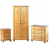 Sol Super Trio - Bedside/Chest/Wardrobe Set in Solid Pine Antique Finish