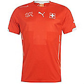 2014-15 Switzerland Home World Cup Football Shirt - Red