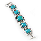 Vintage Turquoise Square Stone Etched Bracelet With Toggle Clasp -18cm Length/ 2cm Extension
