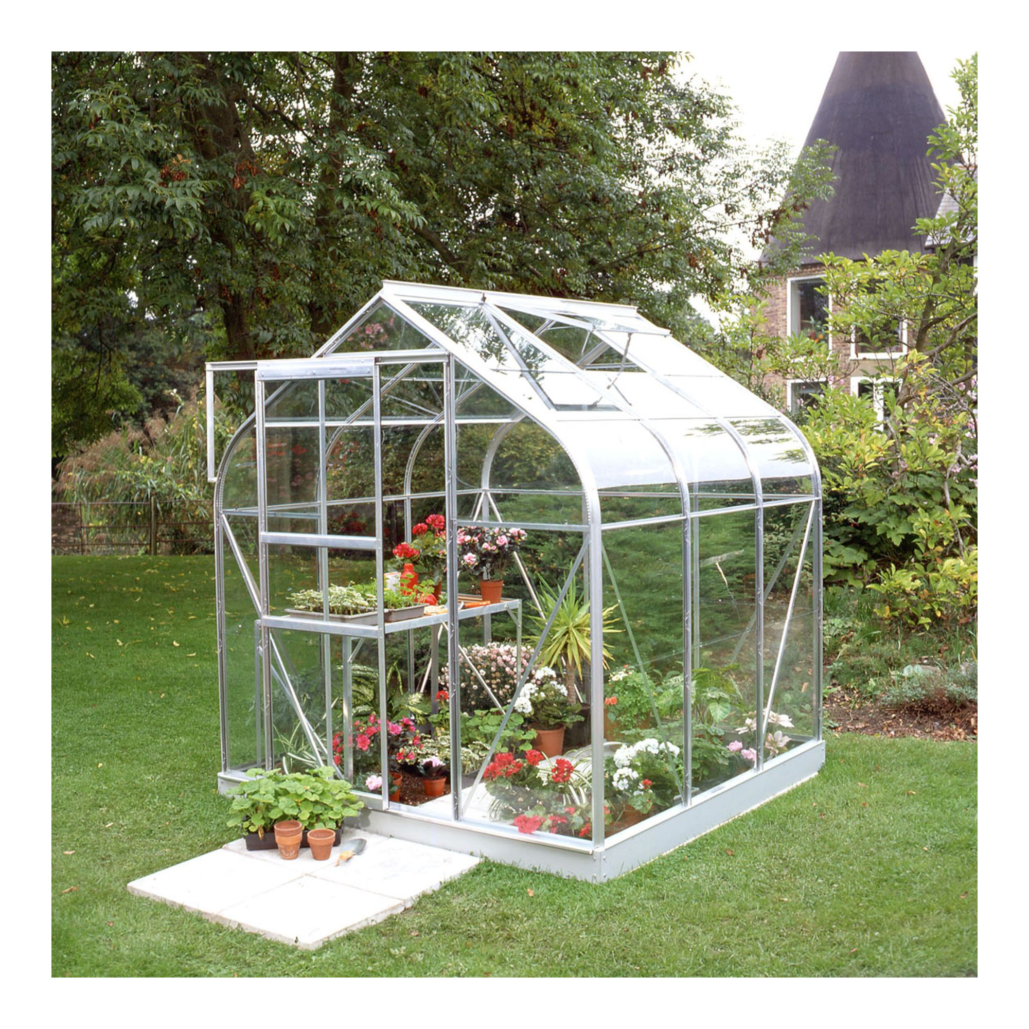 Halls 6x6 Curved Greenhouse + Base - Horticultural Glass at Tesco Direct