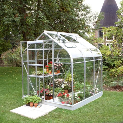 Halls 6x6 Curved Greenhouse + Base - Horticultural Glass