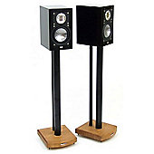 MOSECO 7 Black and Light Oak Speaker Stands