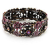Victorian Pink Crystal Floral Flex Cuff Bangle (Bronze Tone)