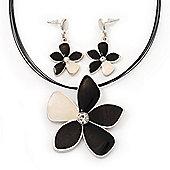 Grey/Light Cream Enamel Flower Pendant Necklace & Drop Earrings Set - 36cm Length (6cm extender)