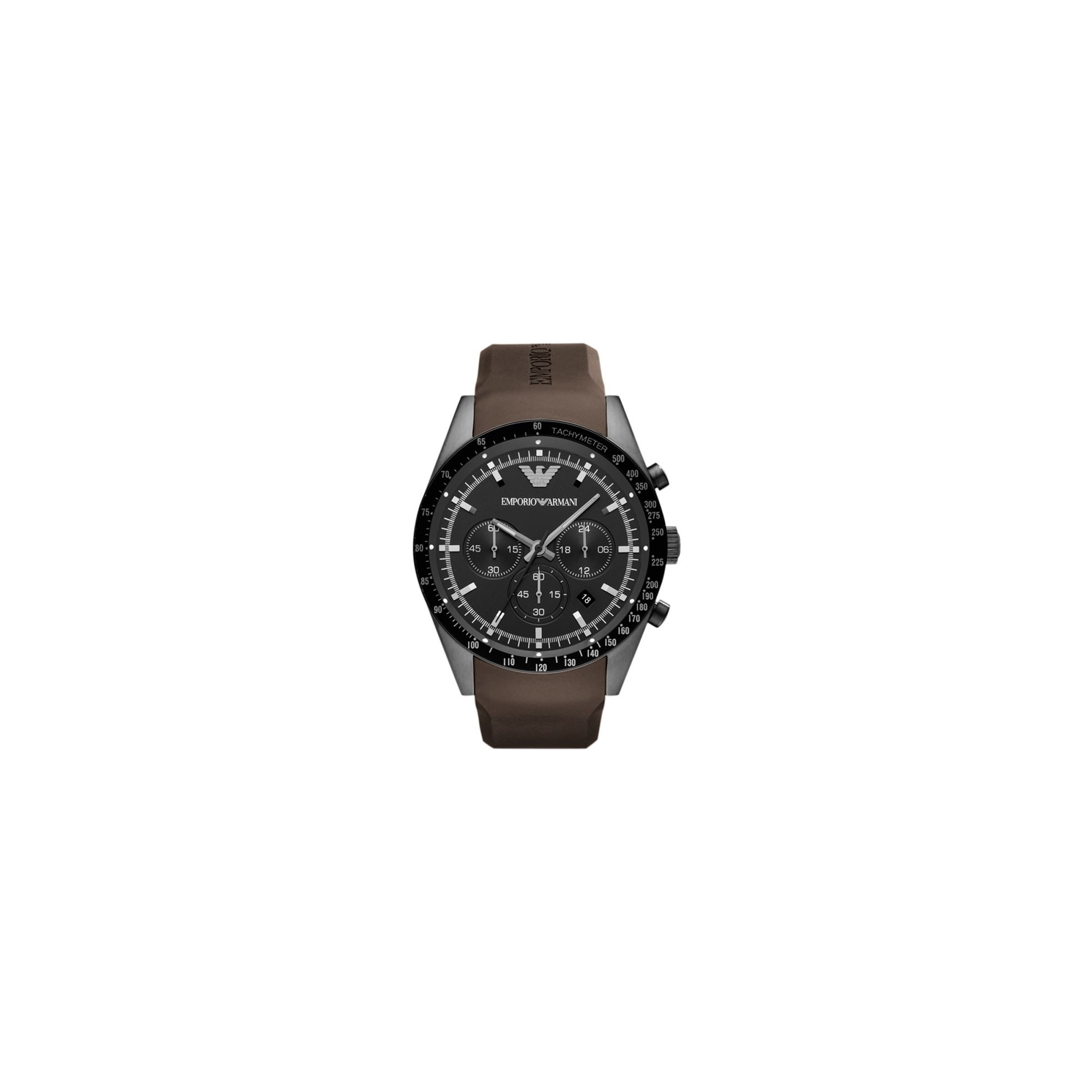 Emporio Armani Gents Chronograph Brown Rubber Strap Watch AR5986 at Tesco Direct