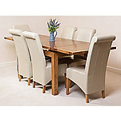 Farmhouse Rustic Solid Oak 160 cm Butterfly Extending Dining Table with 6 Montana Leather Chairs (Ivory)