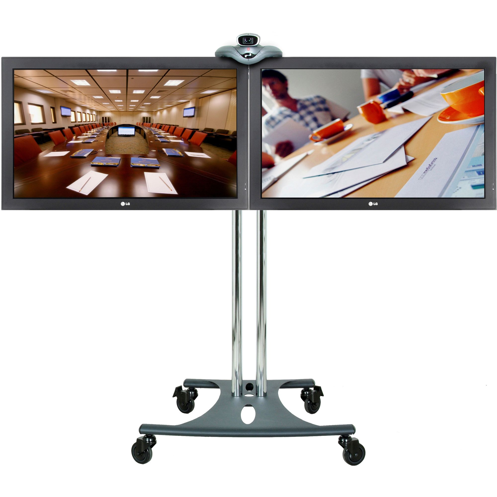 Premier Mounts Tilt Elliptical Base Twin Screen TV Stand / Trolley - 40'' at Tesco Direct