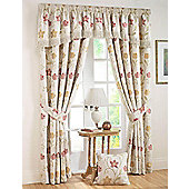 Canterbury Ready Made Pencil Pleat Curtains-Fully Lined-Autumn & Lavender - Ivory