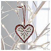 Gisela Graham Scandi Painted Tin Heart Hanging Decoration, Red Border