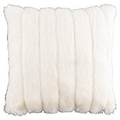 Ribbed White Faux Fur Cushion
