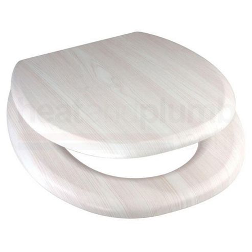 Buy White Ash MDF Wood Toilet Seat With Metal Bar Hinge From Our Toilet Seats
