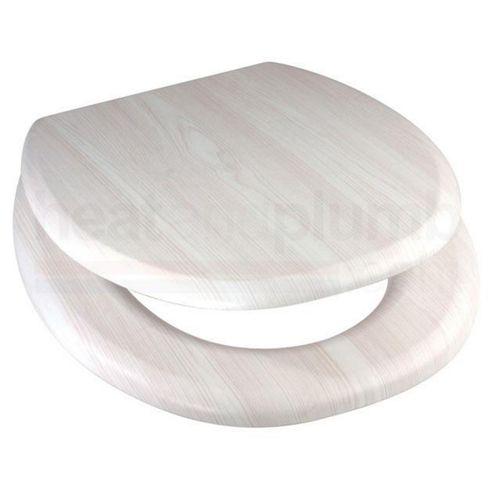White Ash MDF Wood Toilet Seat with Metal Bar Hinge