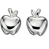 Girl's Sterling Silver Apple Stud Earrings