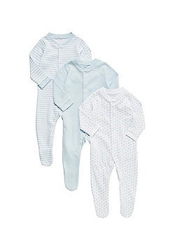 F&F 3 Pack of Sleepsuits - Blue