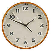 Premier Housewares Wood Wall Clock with White Face Grey Numbers and Silver Hands - Natural Wood