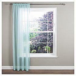 "Crystal Voile Slot Top Curtain W137xL122cm (54x48"") - Aqua"