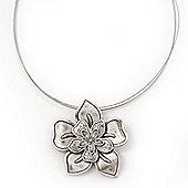 Silver Plated Layered Flower Pendant Wire Choker Necklace - 35cm Length/ 7cm Extension