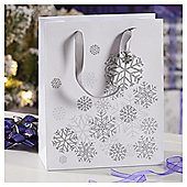Silver Snowflake Christmas Gift Bag, Medium