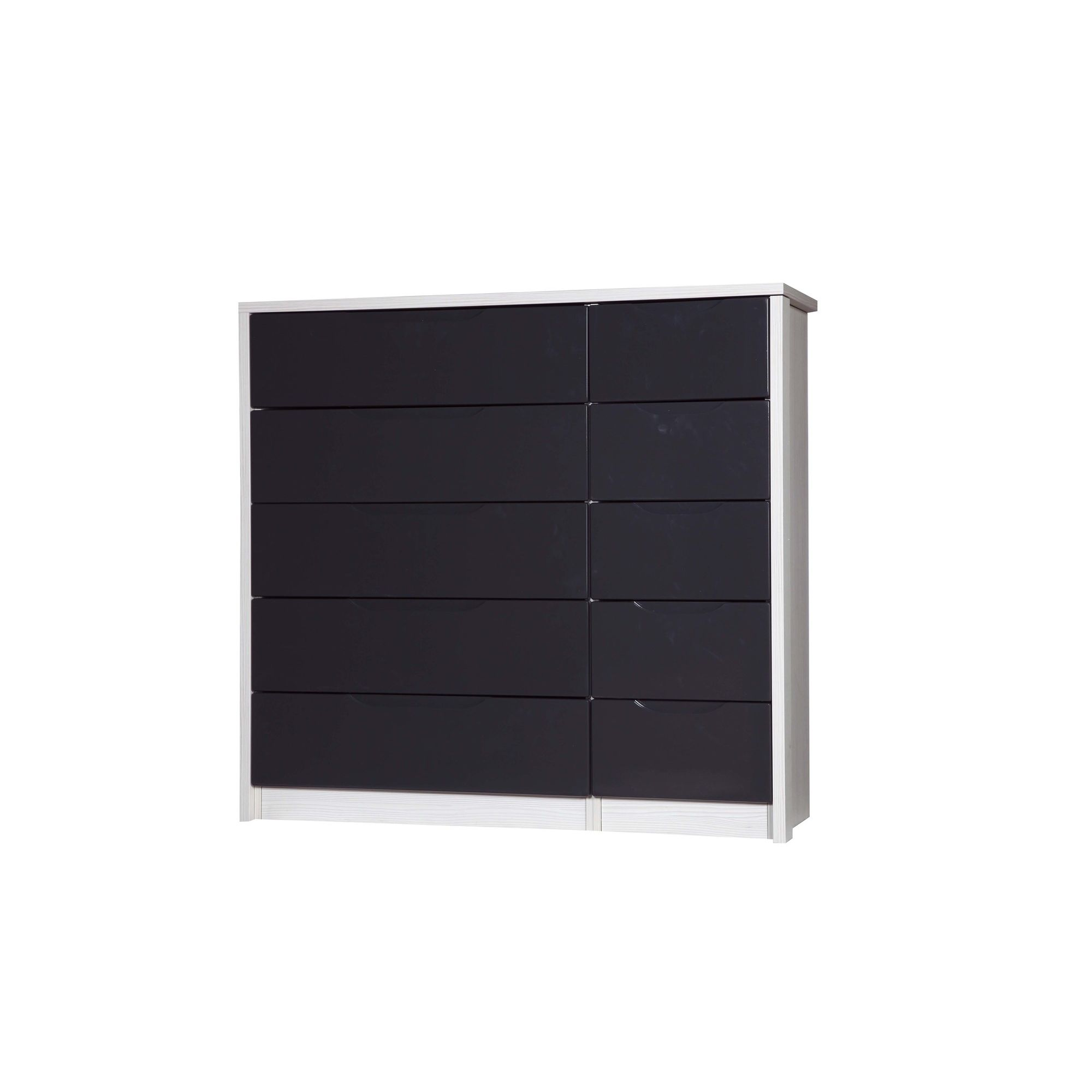 Alto Furniture Avola 10 Drawer Double Chest - White Avola Carcass With Grey Gloss at Tesco Direct