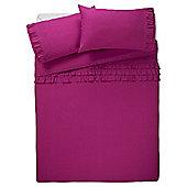 Tesco Ruffle Duvet Set  Pink, - Fuchsia