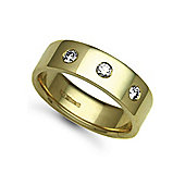 Jewelco London 18ct Yellow Gold 7mm Flat Court Diamond set 30pts Trilogy Wedding / Commitment Ring